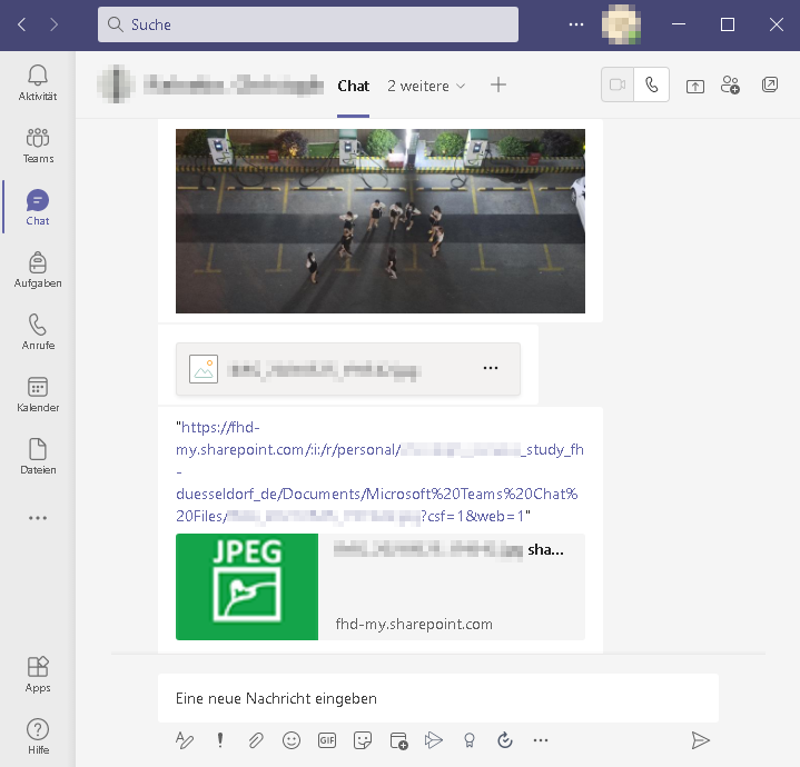 Datei teilen im Microsoft Teams Chat